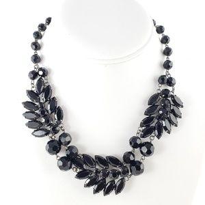 White House Black Market Statement Necklace Black